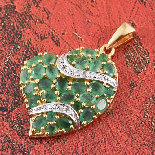 Limited Edition - AA Kagem Zambian Emerald (Ovl), Diamond Heart Pendant in 14K Gold Overlay Sterling Silver 4.000 Ct.