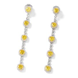 Simulated Yellow Sapphire (Rnd 6 mm), Simulated Diamond Earrings (with Push Back) in Silver Tone