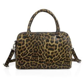 HKK Close Out- 100% Super Soft Genuine Leather Leopard Print Bowling Bag (Size 29x23x10 Cm)