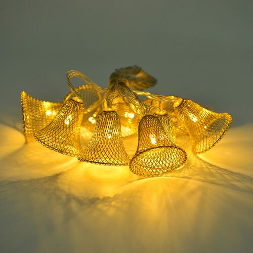 Set of 10 - Yellow Gold Colour Bells LED String Lights