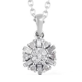 Diamond Cluster Pendant with Chain in Platinum Plated Silver 0.20 Ct 20 Inch