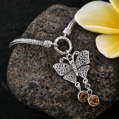 Royal Bali Collection Citrine (Rnd) Butterfly Charm Bracelet (Size 7.5 - 8) in Sterling Silver. Silver wt 13.00 Gms.