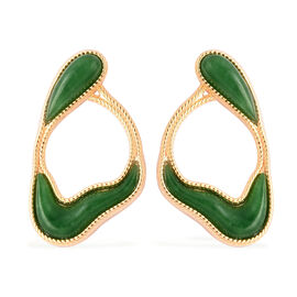 Green Jade Earrings in Yellow Gold Overlay Sterling Silver 8.25 Ct.