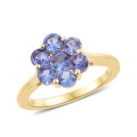 1.50 Carat AA Tanzanite Pressure set Floral Ring in 14K Gold 3.21 Grams