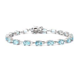 Sky Blue Topaz (Ovl) Bracelet (Size 7) in Rhodium Overlay Sterling Silver 9.720 Ct, Silver wt 6.0 Gm