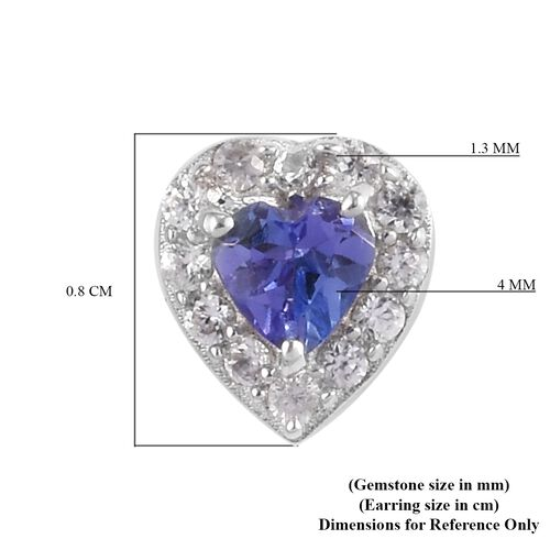 Tanzanite and Natural Cambodian Zircon Halo Heart Stud Earrings (with Push Back) in Platinum Overlay Sterling Silver 0.75 Ct.