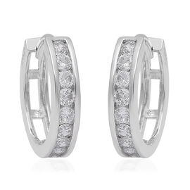 ELANZA Simulated Diamond (Rnd) Hoop (with Clasp) Earrings in Rhodium Overlay Sterling Silver