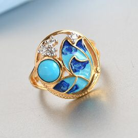 Arizona Sleeping Beauty Turquoise and Natural Cambodian Zircon Enamelled Ring in 14K Gold Overlay Sterling Silver 0.890 Ct.