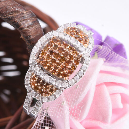 Red Diamond and White Diamond Cluster Ring in Platinum and Yellow Plated Sterling Silver,0.50 Ct