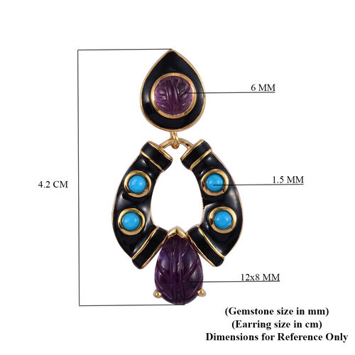 GP Amethyst, Arizona Sleeping Beauty Turquoise and Blue Sapphire Enamelled Earrings (with Push Back) in 14K Gold Overlay Sterling Silver 8.75 Ct, Silver wt 10.15 Gms