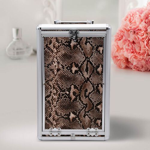 New Arrival- Five Tier Anti-Tarnish Snake Skin Pattern Jewellery Box with Lock and Handle - Brown and Black