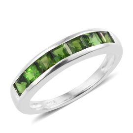 One Time Deal Russian Diopside (Princess Cut) Half Eternity Band Ring in Sterling Silver 1.000 Ct.