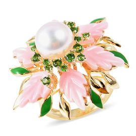 Jardin Collection - Pink Mother of Pearl, Freshwater Pearl and Russian Diopside Ring in Enameled and
