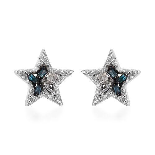 Diamond Platinum Overlay Sterling Silver Earring  0.040  Ct.