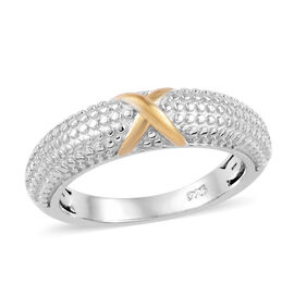 Platinum and Yellow Gold Overlay Sterling Silver X Band Ring
