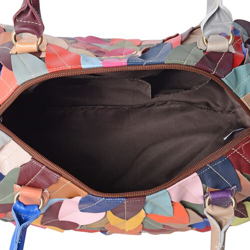 Morocco Collection - 100% Genuine Leather Multi Colour Feather Pattern Tote Bag with Removable Shoulder Strap (Size 33x24x16 Cm)