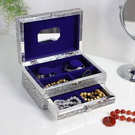 3D Embossed Collection Handcrafted Peacock Design Oxidised Jewellery Box with Drawer Chest (Size 22.