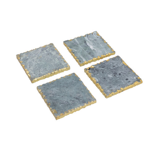 Set of 4 - Square Shaped Marble Coasters (Size 10x10cm) - Green