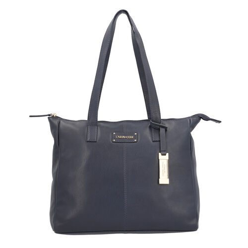 UNION CODE - 2 Piece Set 100% Genuine Leather Tote Bag (Size 33x12.5x27.5 Cm) with RFID Protected Wr
