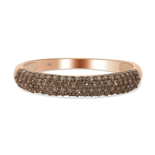 9K Rose Gold SGL Certified Natural Champagne Diamond (I3) Ring 0.50 Ct.