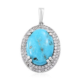 2.75 Ct Persian Turquoise and Natural Cambodian Zircon Halo Pendant in Sterling Silver