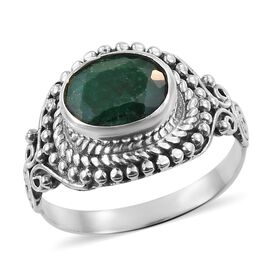 Artisan Crafted Green Corundum Ring (Size Q) in Sterling Silver 4.030 Ct.