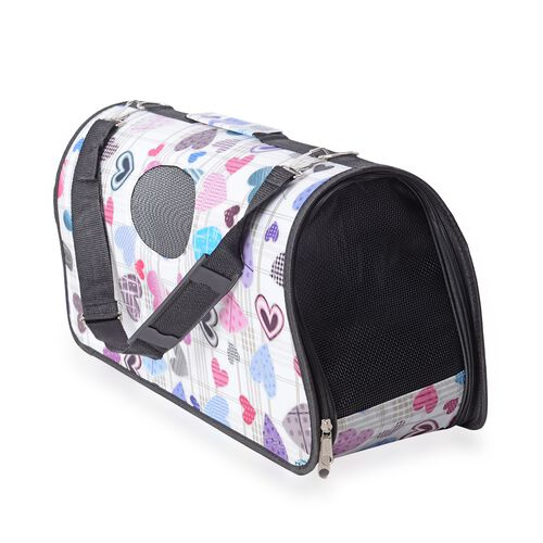 White and Multi Colour Heart Shape Pattern Pet Carrier with Zipper (Size 45x28x20 Cm), Unfoldable Size (93x48 Cm) and Belt (Size 100 Cm)