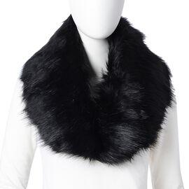 Black Colour Faux Fur Scarf (Size 90x14 Cm)