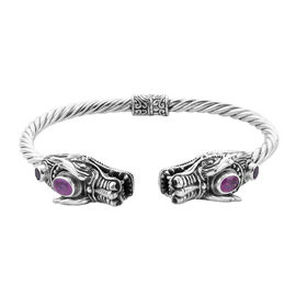 Royal Bali Collection - Pink Sapphire (Ovl 7x5mm) and Rhodolite Garnet Dragon Head Bangle (Size 7.5)