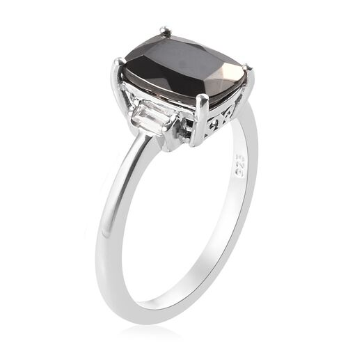 Elite Shungite (1.00 Ct), Natural Cambodian Zircon Ring in Platinum Overlay Sterling Silver 1.14 Ct.