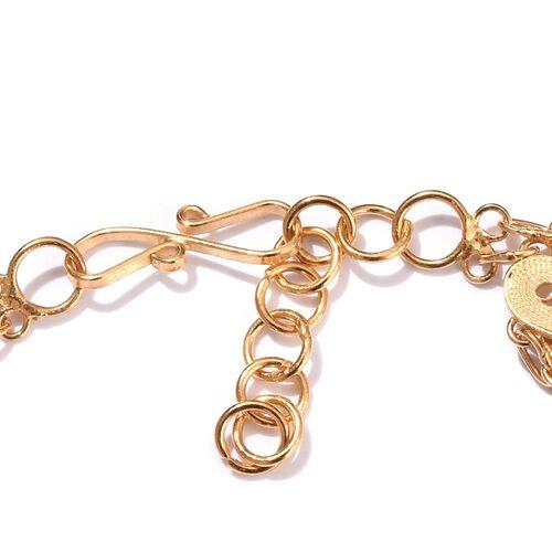 JCK Vegas Collection Yellow Gold Overlay Sterling Silver Multi Heart Bracelet (Size 7.5), Silver wt 11.15 Gms.