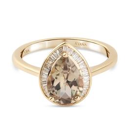 ILIANA 18K Yellow Gold Natural Turkizite (Pear) and Diamond  Ring 2.17 Ct.
