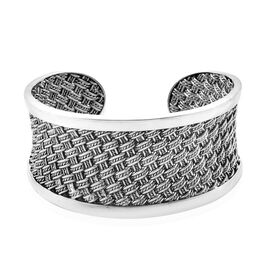 Woven Boho Cuff Bangle in Sterling Silver 61.12 Grams 7.25 Inch