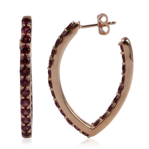 Rhodolite Garnet (Rnd) Hoop Earrings (with Push Back) in Rose Gold Ovelay Sterling Silver 6.882 Ct. Silver wt 6.50 Gms.