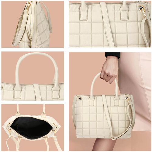 Quilted Pattern Satchel Bag with Detachable Shoulder Strap and Zipper Closure (Size 32x14x26 Cm) - White