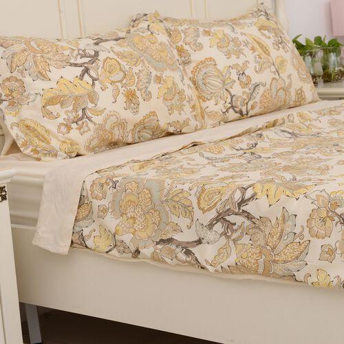 4 Pcs Cream Colour Fitted Sheet (Size 150x200 Cm), Duvet Cover (Size 225x220 Cm) and Pillow Case (Size 50x75 Cm) Cream and Multi Colour