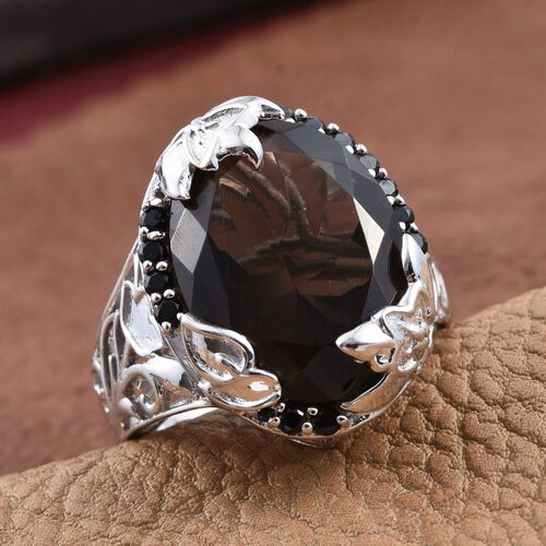 GP Brazilian Smoky Quartz (Ovl 11.45 Ct), Boi Ploi Black Spinel and Kanchanaburi Blue Sapphire Ring in Platinum Overlay Sterling Silver 11.750 Ct.