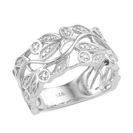 Diamond Leaf Ring in Platinum Plated Sterling Silver