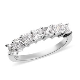 RHAPSODY 950 Platinum IGI Certified Diamond (Sqr) (VS/E-F) Seven Stone Ring 1.00 Ct.