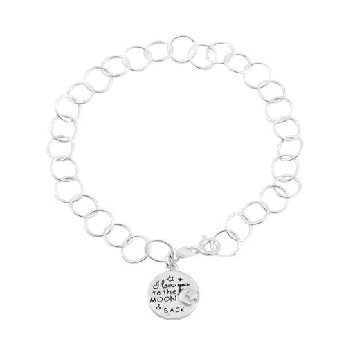 Sterling Silver Bracelet (Size 7.5) with I Love you to the Moon and Back Charm, Silver wt 3.80 Gms