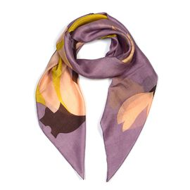 100% Mulberry Silk Floral Pattern Scarf (Size 100x100 Cm) - Lavender and Multicolour