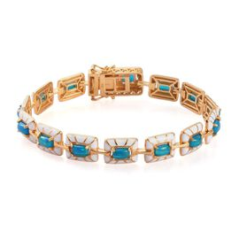 Miami Blue Welo Opal Enamelled Bracelet (Size 8) in 14K Gold Overlay Sterling Silver 5.00 Ct, Silver