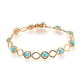 4.50 Ct Arizona Sleeping Beauty Turquoise Station Bracelet in Gold Plated Sterling Silver 8 Inch