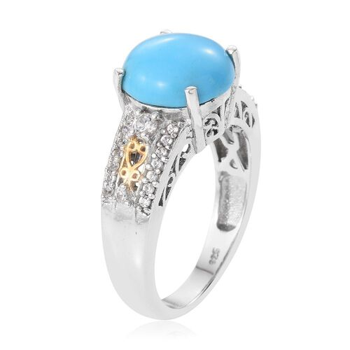 Arizona Sleeping Beauty Turquoise (Rnd 2.75 Ct), Natural Cambodian Zircon Ring in Platinum and Yellow Gold Overlay Sterling Silver 3.000 Ct.