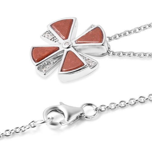Isabella Liu Dance of Ginkgo - Red Jade and Natural Cambodian Zircon Pendant with Chain (Size 18) in Rhodium Overlay Sterling Silver 3.72 Ct.