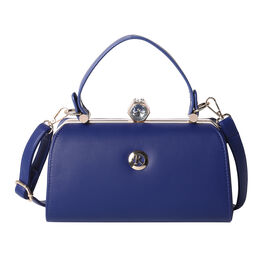BOUTIQUE COLLECTION Navy Colour Clutch Bag with Detachable and Adjustable Shoulder Strap with Crysta