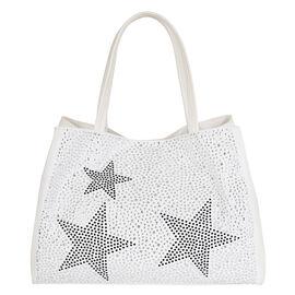 2 Piece Set - Kris Ana Star Tote Bag & Wash Bag - White