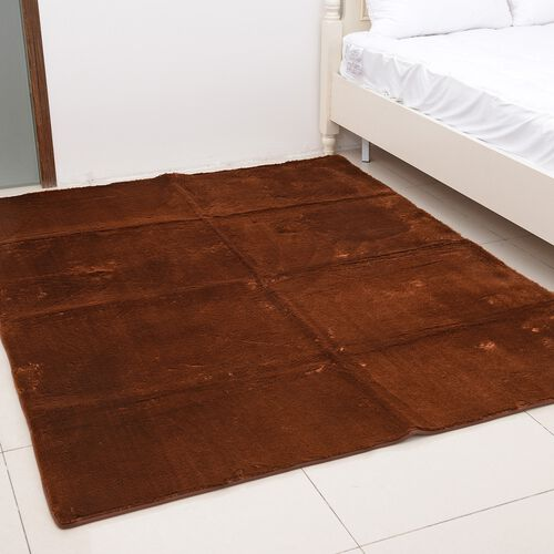 Premium Supersoft Low Pile Microfiber Padded Area Rug in Brown Colour with Anti Slip Backing (Size 160x200 cm)