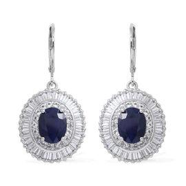 Kanchanaburi Blue Sapphire Extremely Rare Size (Ovl), White Topaz Lever Back Earrings in Rhodium Ove
