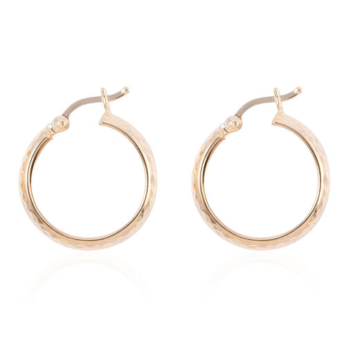 Royal Bali Collection - 9K Yellow Gold Hoop Earring (with Clasp Lock)